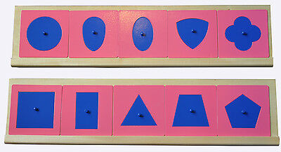 MONTESSORI Materials 10 METAL Geometric INSETS SHAPES with TWO WOODEN Stands