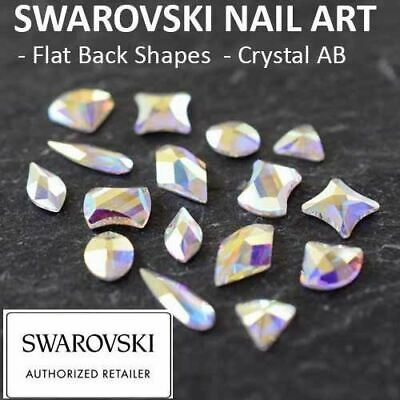 Genuine Swarovski Flat Back Crystals Rhinestones Gems NAIL ART SHAPES Crystal AB