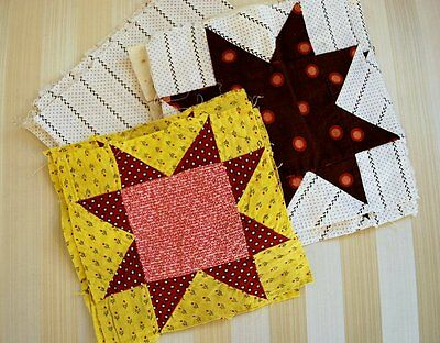 Victorian Printed Cotton Quilt Blocks In Star Pattern Folky Country 11 Pcs.