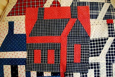 Victorian Cabin Quilt Blocks Cotton Check And Calico Toal Of 12 Blocks Hand Sewn