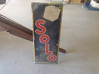 EARLY Solo MARGARINE single sided porcelain SSP Vintage VerTiCaL SIGN  VERY OLD