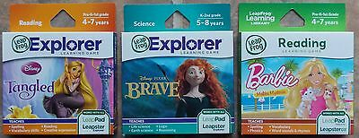 Lot of 3 LeapPad Leapster Explorer Games ~ NEW Brave Tangled Barbie