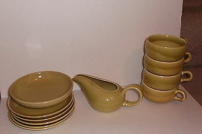 10 pcs Russel Wright Chartreuse China Creamer, 4 cups & saucers, bowl VG