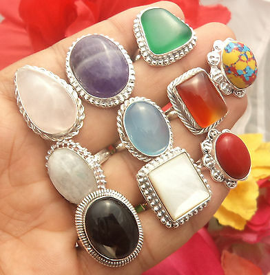 White Rainbow & Mix Gemstone Wholesale Lot 10Pc 925 Sterling Silver Overlay Ring