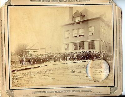 Large Victorian Photo Waterville, Maine, Lodge Hall & Members