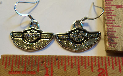 Harley 100th earrings collectible old Hd motorcycle biker jewelry .925 silver