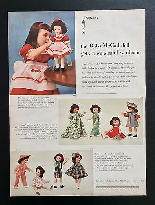 """Vintage 14"""" Betsy McCall Doll Clothes Pattern Ad from McCalls Mag., 1951"""