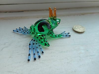 Frog - Beautiful Colourful-Green/blue/black Miniature Glass Tropical Frog Prince