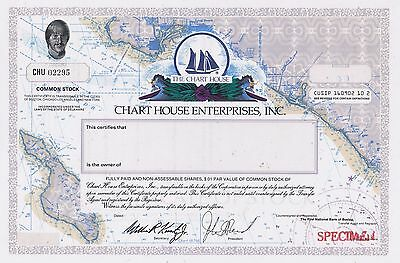 """CHART HOUSE """"SPECIMEN"""" Stock Certificate  Nautical Map of So. Cal. Catalina"""