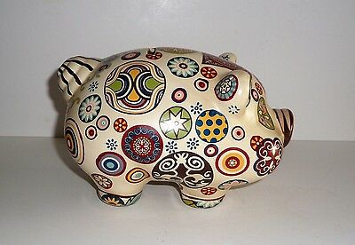 Vintage~Circa 1960-1970's~Groovy Painted~ Piggy Bank
