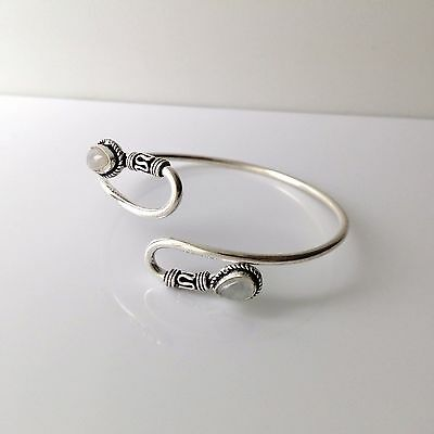 Silver Color Serpentine Bracelet Ethnic India Jewelry Moonstone or Red Coral