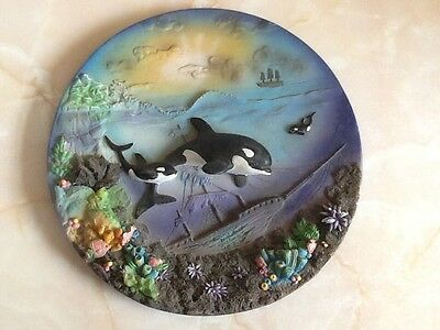 WHALES  In the SEA over coral 3D Plate