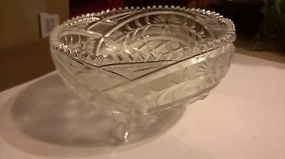 Vintage Cut Glass/crystal Bowl With 3 Legs About 6 Inches Diameter