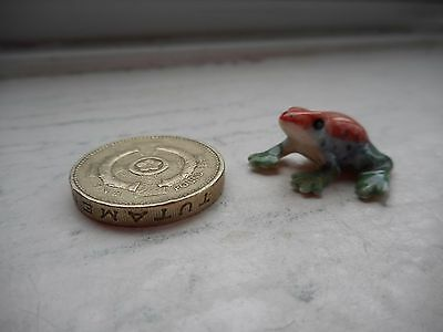 Frog - Tiny Detailed Colourful Miniature  Pottery Pink/green/blue Dainty Frog