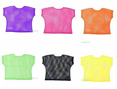 Neon Mesh top 80s Punk Mod Ladies Fancy Dress Bright Mesh Top.