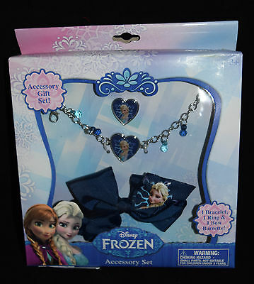 Jewelry Accessory Gift Disney Frozen Elsa Anna New Hair Bow Necklace Ring  Y2L