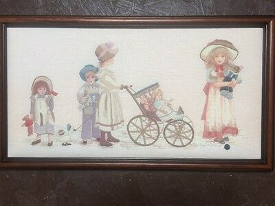 "Vintage Hand Embroidered Girls ""Dressed Up"" with Dolls Picture Framed"