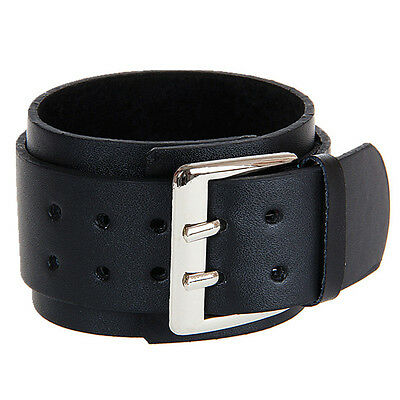 Black Real Leather Double Layer Buckle Wristband Cuff - Goth Punk Emo Rocker