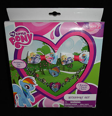 Jewelry Accessory Gift Set My Little Pony New Hair Bows Bracelet Ring Blue Pink