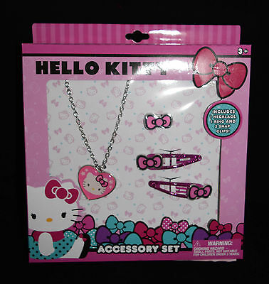 Jewelry Accessory Gift Set Hello Kitty New Hair Clips Necklace Ring Pink  Bow