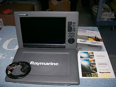 Raymarine C-140 Wide Mfd Used With Manuals, Cables, Flush Mount In Pristine