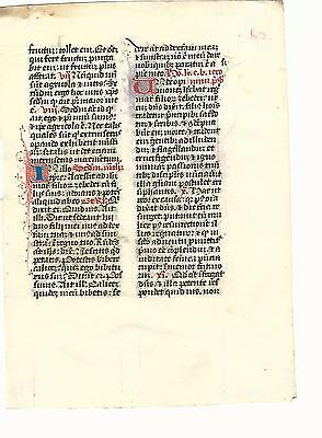 14th C BEAUTIFULLY PENNED ILLUMINATED MEDIEVAL MANUSCRIPT PRAYER LEAF