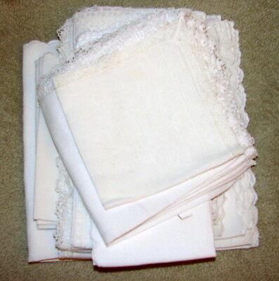 MIXED LOT OF 18 NAPKINS - Various sizes, some have lace or crochet edges