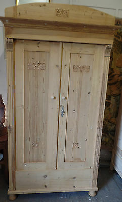 19th Century Double Solid Pine Continental Armoire / Wardrobe