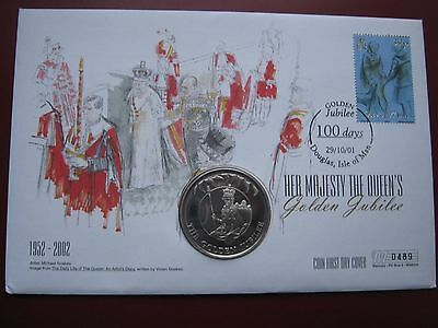 Falkland Islands 2002 Crown 50 Pence UNC Cu-Ni Queen's Golden Jubilee coin FDC