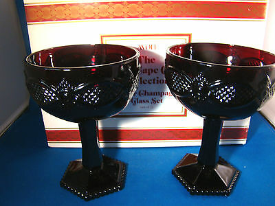 Avon Cape Cod Collection Saucer Champagne Glass Red Set of 2 NIB @25