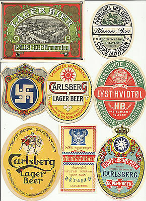 Great Set Of 28 Very Old Denmark Beer Labels