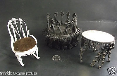 1970's  3 Lot  Hand Made Tin Can Craft  Rocking Chair Table And Candle Stand