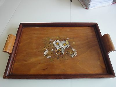 Used vintage  wooden painted   serving tray