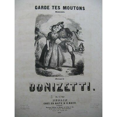DONIZETTI G. Garde tes moutons Chant Piano ca1853  Partition Sheet Music Spartit
