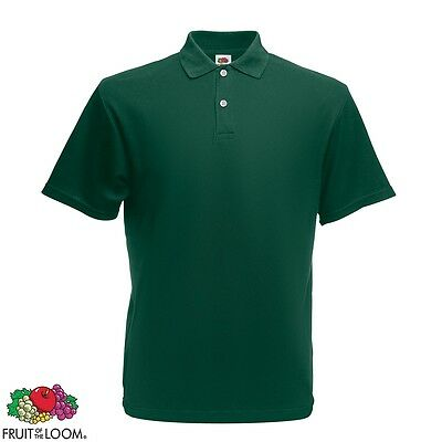 New Fruit of the Loom Original Men's Polo Shirt Forest Green S Cotton T-Shirt