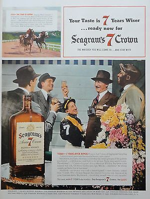 1941 ORIG.PRINT AD SEAGRAM'S CROWN WHISKIES winning at Belmont jockey owner