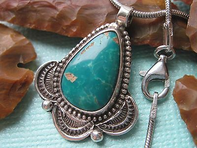 Vintage Old Pawn Turquoise and Sterling Silver Pendant on 925 Sterling Necklace