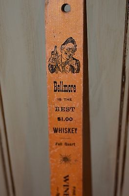 Vintage Wooden Ruler Advertising Promoting Bellmore Whiskey Liquor Dealer 15""