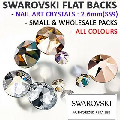 Genuine Swarovski Flat Back Crystals Rhinestones Gems NAIL ART 2.6mm SS9