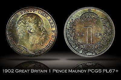 1902 Great Britain Maundy 1 Pence PCGS PL67+ 1D Colorful Attractive Toning Plus