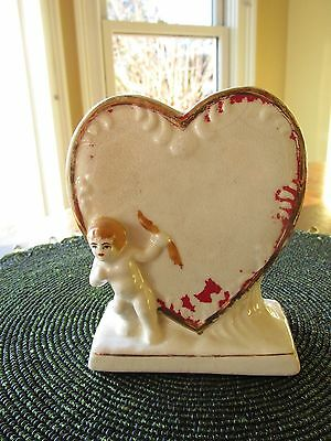 OLD Vintage Heart SHAPE Vase with Cupid