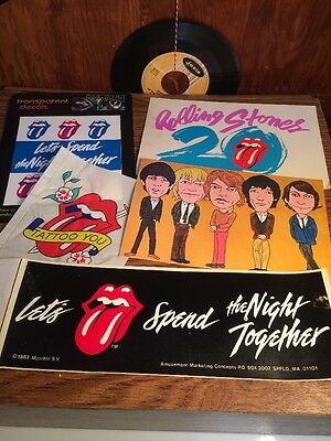 Rolling Stones Vintage Lot Postcards Decals Bumper Stickers