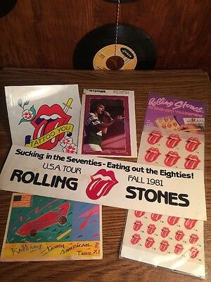 Vintage 1980s Rolling Stones Lot Bumper Stickers Transfers Mini Posters