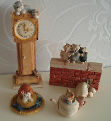 CATS Peter Fagan 4 ITEMS 1CLOCK 1CAT ON A HAT 1 WALL 3 CATS 1CAT IN A TEAPOT