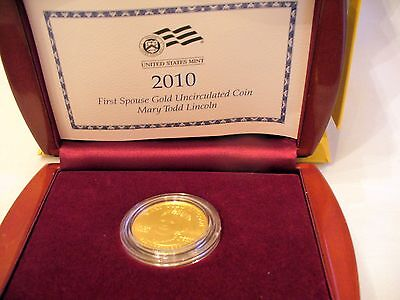 2010 Mary Todd Lincoln $10 Gold Coin, .99999 Gold, 1/2 Oz. Uncirculated