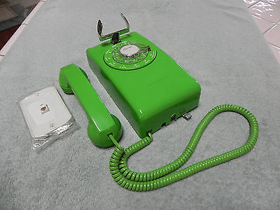 1984 Western Electric Bell System 554 Rotary Wall Phone-w/ Lime Green S/C Covers