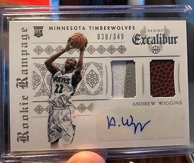 Andrew Wiggins Rookie Rampage Auto Dual Patch And Basketball Patch 38/349