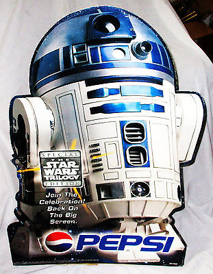 RARE 1996 Vintage R2D2 PEPSIE STANDUP 3foot Cut-Out Advertising Star Wars POSTER