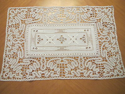 Antique Placemats Set Italian Embroidered Linen Bobbin Lace Cutwork Cream 10 Mat
