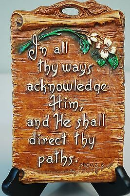 Vintage Christian Religious Wall Hanging Plaque Art Chalkware Proverbs 3:6 Bible